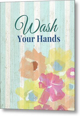 Wash Your Hands Floral Stripe- Art By Linda Woods Metal Print