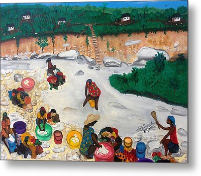 Washing Clothes By The Riverside In Haiti Metal Print by Nicole Jean-Louis