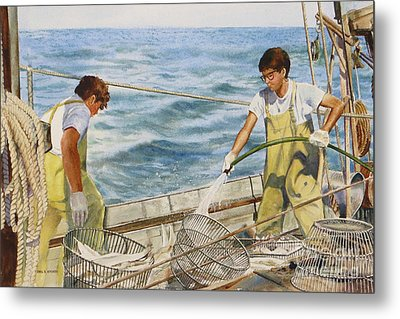 Washing Fish Metal Print