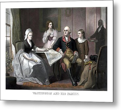 Washington And His Family Metal Print by War Is Hell Store