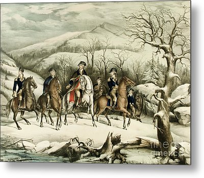 Washington And His Staff At Valley Forge Metal Print by American School
