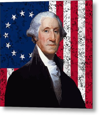Washington And The American Flag Metal Print by War Is Hell Store