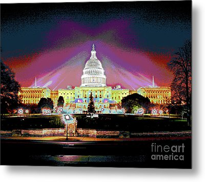 Washington Capitol Sunset Metal Print by Larry Oskin