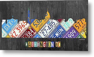 Washington Dc Skyline Recycled Vintage License Plate Art Metal Print by Design Turnpike