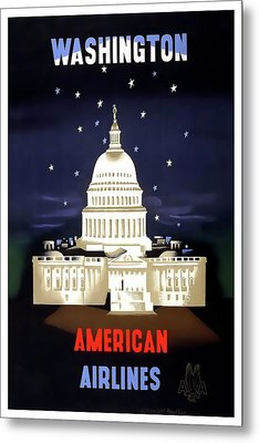 Washington D C Vintage Travel C. 1950 Metal Print by Daniel Hagerman