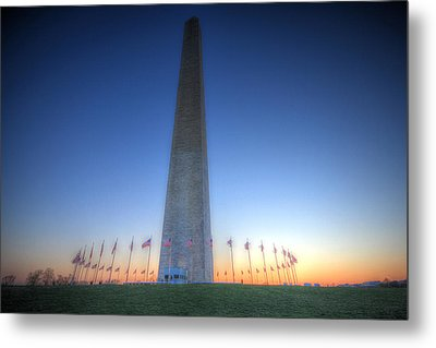 Metal Print featuring the photograph Washington Monument At Sunset by Shelley Neff