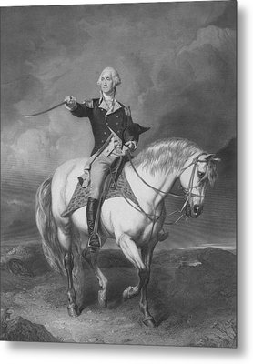 Washington Receiving A Salute At Trenton Metal Print