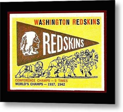 Washington Redskins 1959 Pennant Card Metal Print by Paul Van Scott