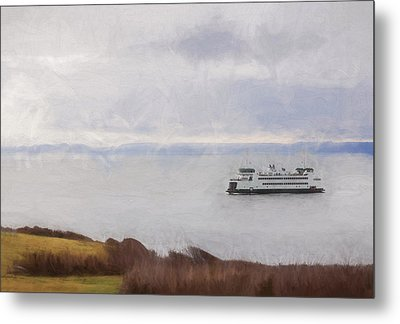 Washington State Ferry Approaching Whidbey Island Metal Print by Carol Leigh