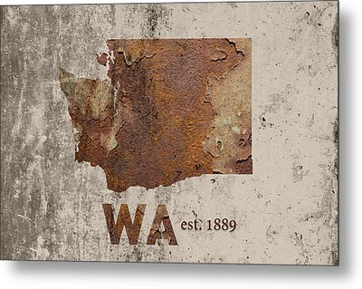 Washington State Map Industrial Rusted Metal On Cement Wall With Founding Date Series 042 Metal Print by Design Turnpike
