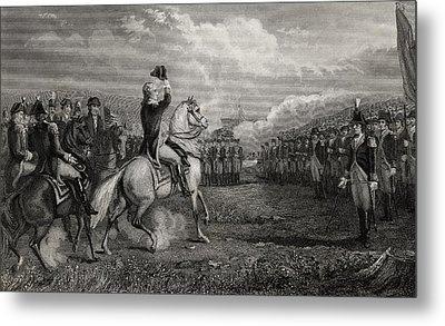 Washington Taking Command Of The Army Metal Print by Vintage Design Pics