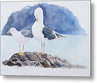Washington - Two Gulls Metal Print by Christine Lathrop