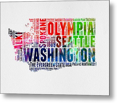 Washington Watercolor Word Cloud Map Metal Print by Naxart Studio