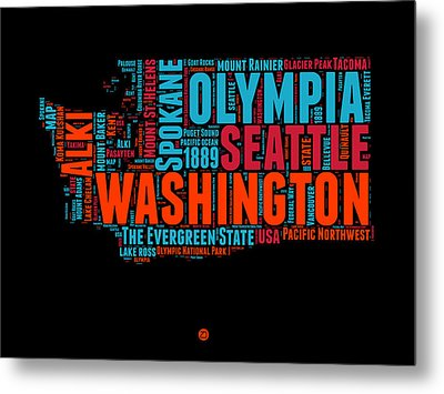 Washington Word Cloud Map 1 Metal Print by Naxart Studio