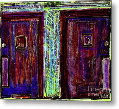 Washrooms Are This Way Metal Print by Contemporary Luxury Fine Art