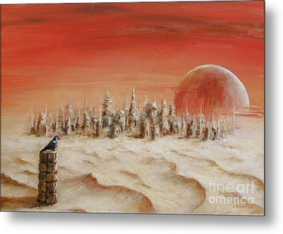 Metal Print featuring the painting Watcher by Arturas Slapsys