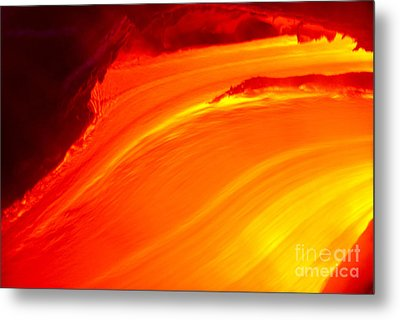 Watching The Lava Flow Metal Print by Erik Aeder - Printscapes