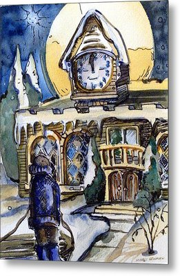 Watching The Village Clock Metal Print by Mindy Newman