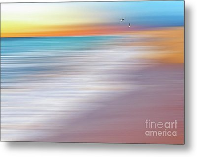 Water Abstraction II With Gulls By Kaye Menner Metal Print