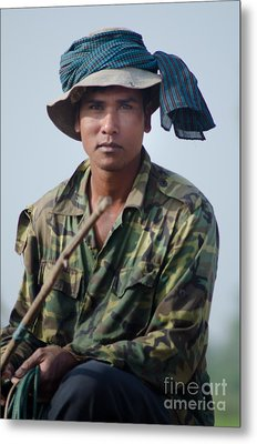 Water Buffalo Driver In Cambodia Metal Print