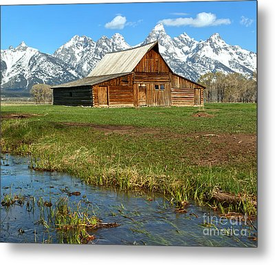 Water By The Barn Metal Print by Adam Jewell