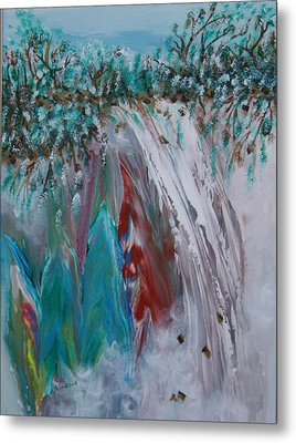 Metal Print featuring the painting Water Falls  by Sima Amid Wewetzer