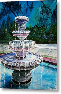Water Fountain Acrylic Painting Art Print Metal Print by Derek Mccrea