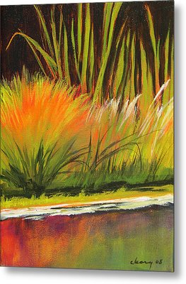 Water Garden Landscape 5 Metal Print by Melody Cleary