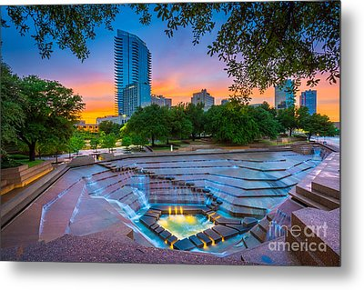 Water Gardens Sunset Metal Print by Inge Johnsson