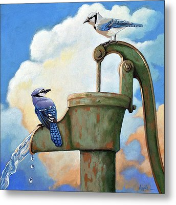 Metal Print featuring the painting Water Is Life #3 -blue Jays On Water Pump Painting by Linda Apple