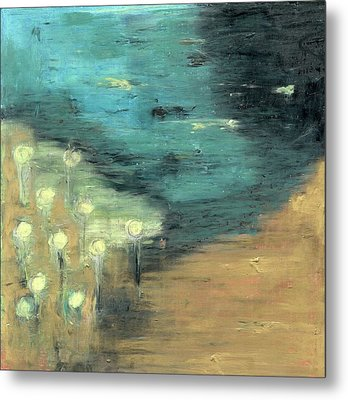 Metal Print featuring the painting Water Lilies At The Pond by Michal Mitak Mahgerefteh