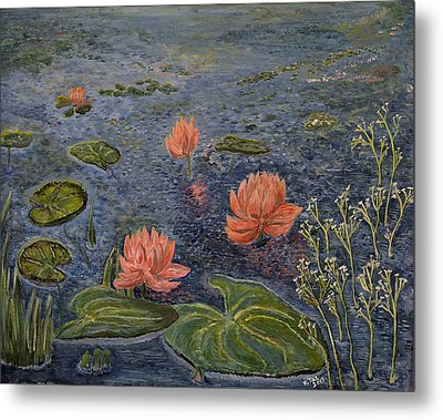 Water Lilies Lounge Metal Print by Felicia Tica