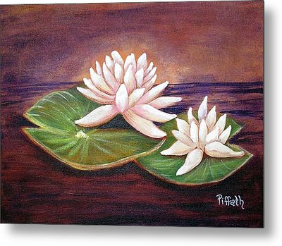 Metal Print featuring the painting Water Lilies by Patricia Piffath