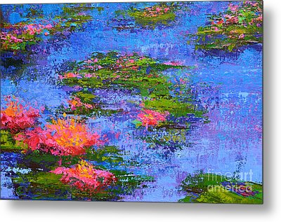 Waterlilies Lily Pads - Modern Impressionist Landscape Palette Knife Work Metal Print by Patricia Awapara