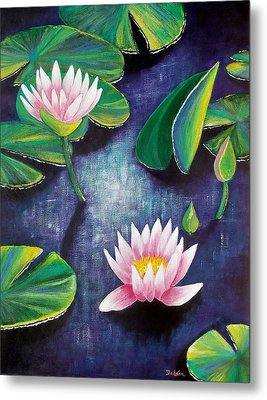 Metal Print featuring the painting Water Lilies by Susan DeLain