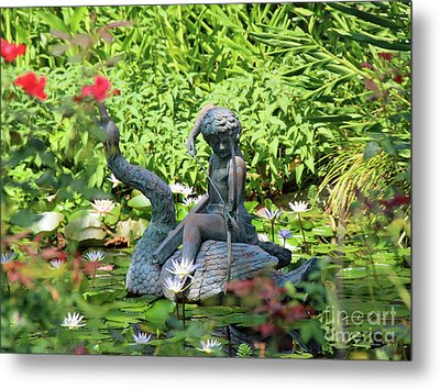 Water Lilly Pond Metal Print by Inspirational Photo Creations Audrey Woods