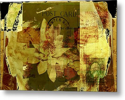 Water Lily Collage Metal Print by Ann Powell