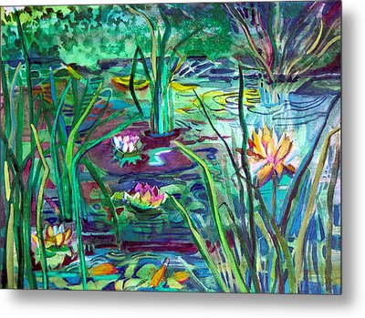 Water Lily Pond Metal Print by Mindy Newman