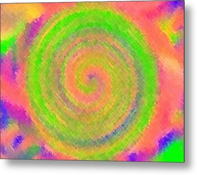 Water Melon Whirls Metal Print by Catherine Lott