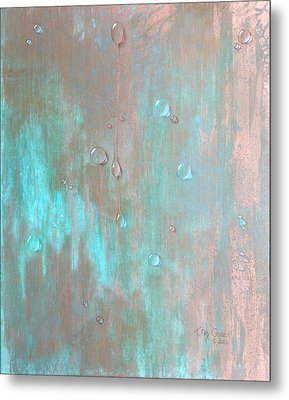 Water On Copper Metal Print by T Fry-Green