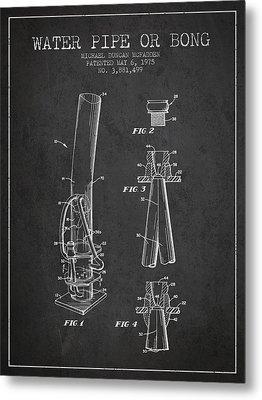 Water Pipe Or Bong Patent 1975 - Charcoal Metal Print