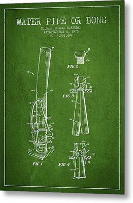 Water Pipe Or Bong Patent 1975 - Green Metal Print
