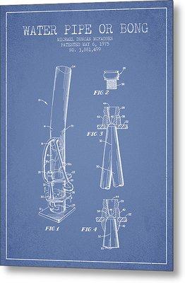 Water Pipe Or Bong Patent 1975 - Light Blue Metal Print