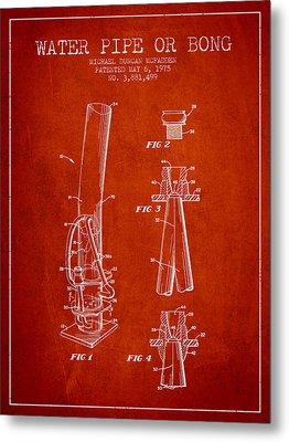 Water Pipe Or Bong Patent 1975 - Red Metal Print