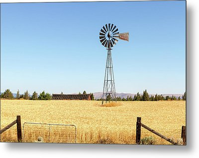 Water Pump Windmill At Wheat Farm In Rural Oregon Metal Print by David Gn