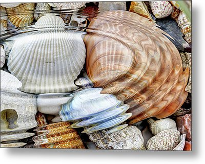 Water Ripples Over The Stone Pebbles Metal Print by Michal Boubin