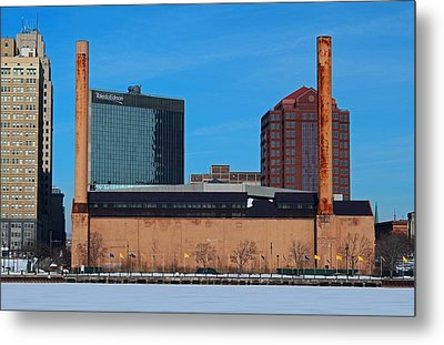 Metal Print featuring the photograph Water Street Steam Plant In Winter by Michiale Schneider