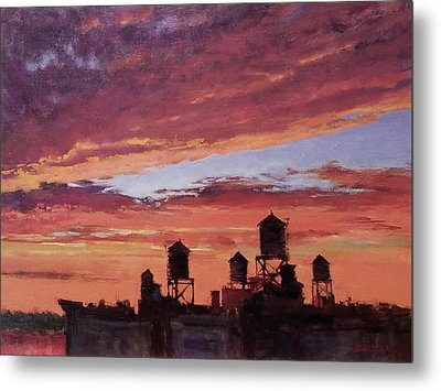 Water Towers At Sunset No. 4 Metal Print