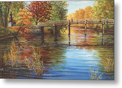 Water Under The Bridge, Old North Bridge, Concord, Ma Metal Print by Elaine Farmer