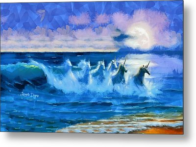 Water Unicorns - Da Metal Print by Leonardo Digenio